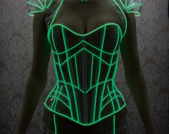 CLEARANCE- Clear Skirt lace up back green glowing trimmed PVC skirt XS Artifice (sample, ready to ship)