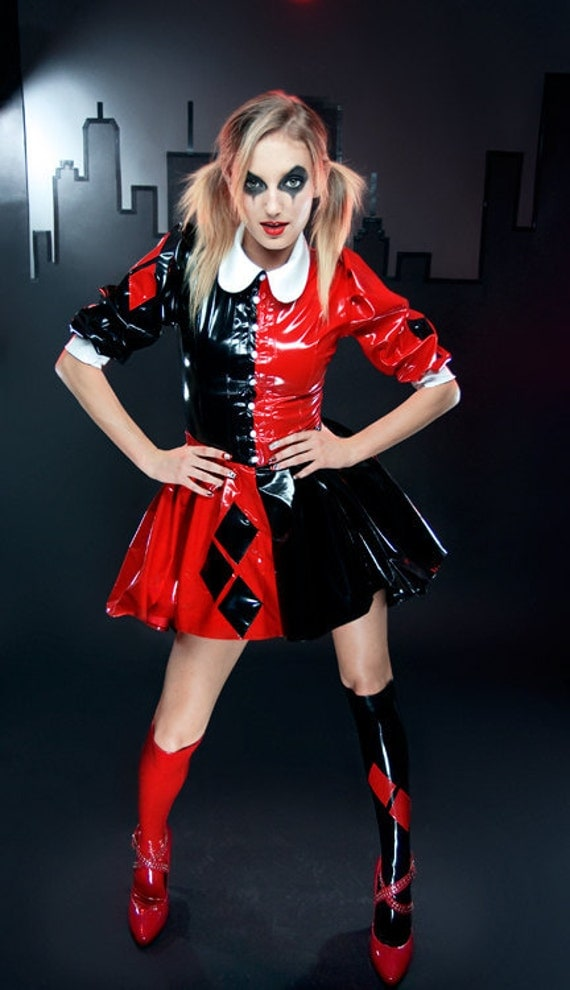 Xs Harley Quinn Pvc Knee Socks With Diamonds And Stay Up Tops