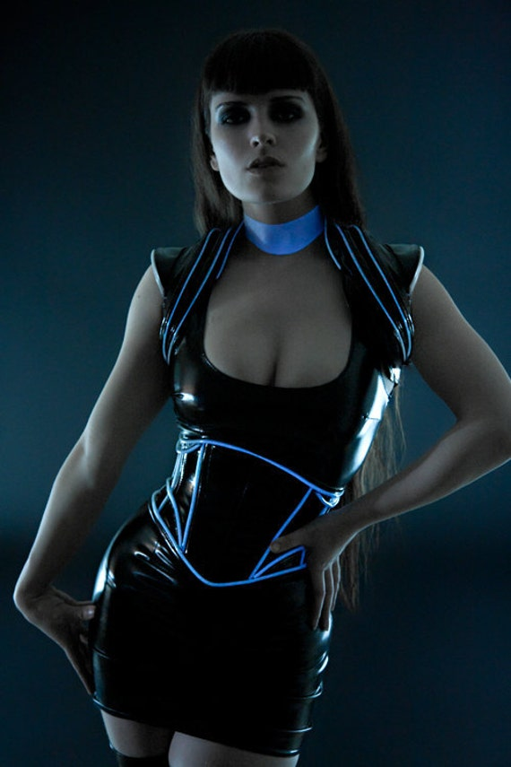 Black PVC with luminescent icy blue glowing trim shrug from Artifice XS/S (photoshoot sample, ready to ship)