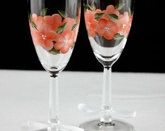 Hand Painted Champagne Glasses, Peach Flowers