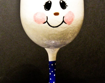 Hand Painted Snowman Wine Glass