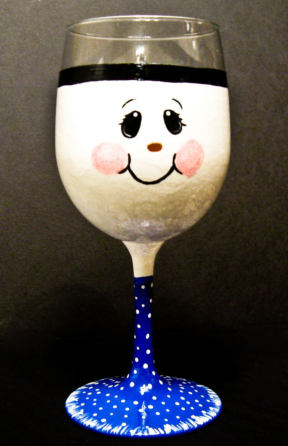 Hand painted snowman wine glass by allthatglass1 on etsy for Hand painted wine glasses
