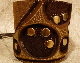 MARRAKECH Tan Brown and Gold Hand Painted Re Cycled Leather with Brass Brads Cuff