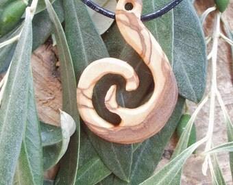 Olive Wood Maori style fish hook necklace a symbol of Prosperity and Abundance