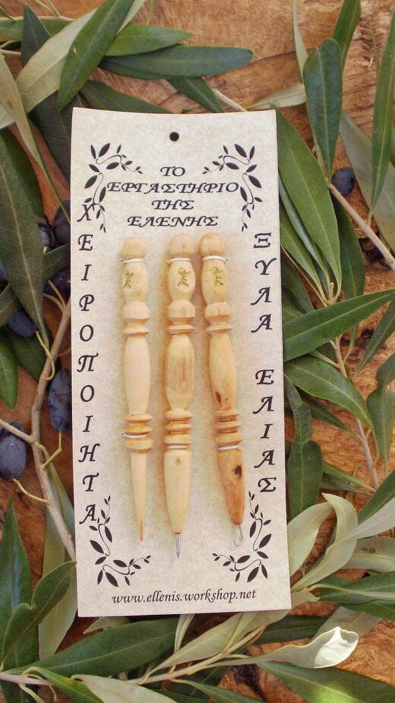 Hand made Greek olive wood Three piece needle work- embroidery gift set
