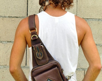 Burning Man Unisex Leather Mini Shoulder Bag