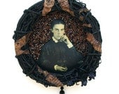 beaded wreath - A Penny For Your Thoughts (Victorian Woman) -  meditation, mourning, Victorian, beaded art, black, copper