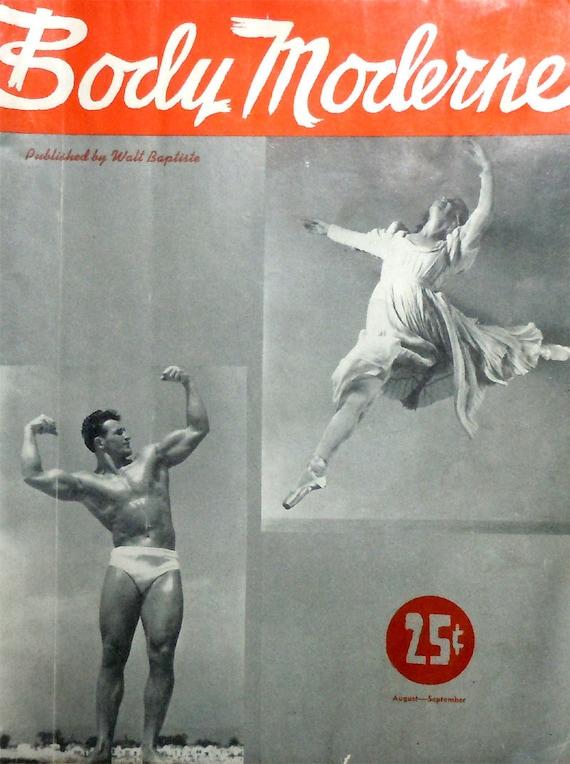 1947 Body Moderne Magazine, Bob McCune, Bodybuilding, Weight Lifting, Aug-Sept, Vintage