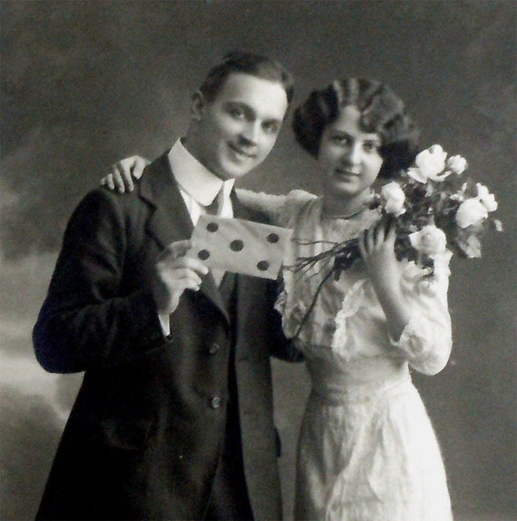 Antique Victorian Sweethearts Real Photo Postcard, Man and Woman, Wedding, Vintage c1910