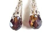 Cone earrings, teardrop, brown, burgundy, metalized, long cone earrings, earrings, silver earrings, amber, brown burgundy, silver plated,