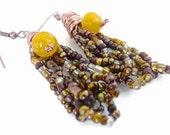 Boho earrings, jade earrings, copper earrings, tangled, earrings, brown, boho, unusual, beaded, brown gold earrings,Yellow jade earrings