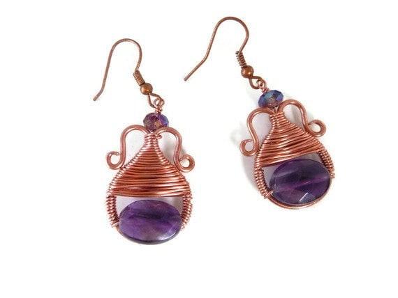 Copper earrings, wire wrapped, purple, wire work, beaded, amethyst, teardrop, swarovski, crystal, gemstone