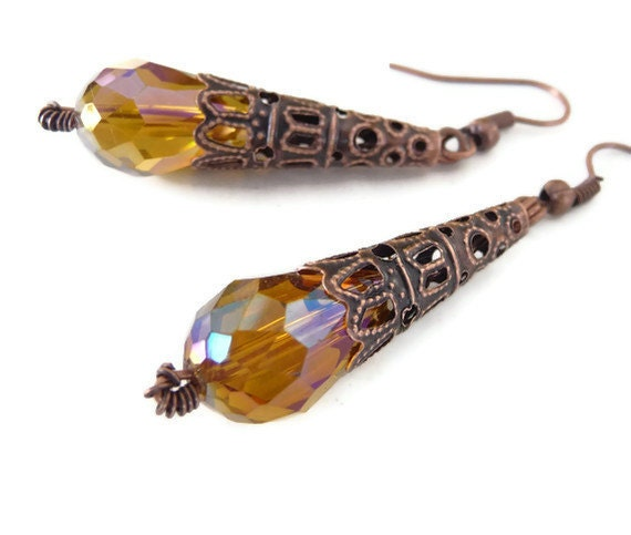 Copper Crystal, Earrings, oxidized, Amber, brown-yellow, filigree, Swarovski, dangle, teardrop earrings, cone earrings,  long earrings,