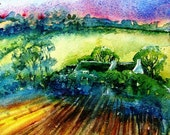 The Sunset  Field  -   Original Watercolour painting -SALE