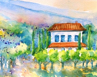 """Tuscany art, Italy  """"Tuscan Villa"""" -  original watercolour painting . with  2 inch Ivory Mat - SALE-Lovely Gift"""