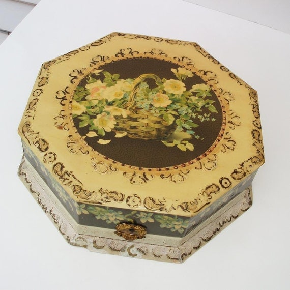 Antique Dresser Box, Victorian Decor, Celluloid Box, Octagon, Still Life Art , Yellow - Brown - Green