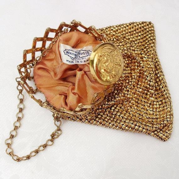 Gate Top Purse Whiting Davis Mesh Purses Gold Evening Bag Flapper Purse