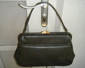 Vintage Theodor of California Olive Green Textured Faux Leather Purse