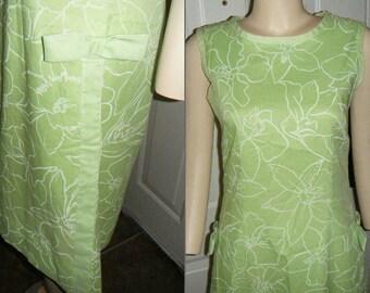 Vintage Lime Green Cotton Day Dress By Serbin