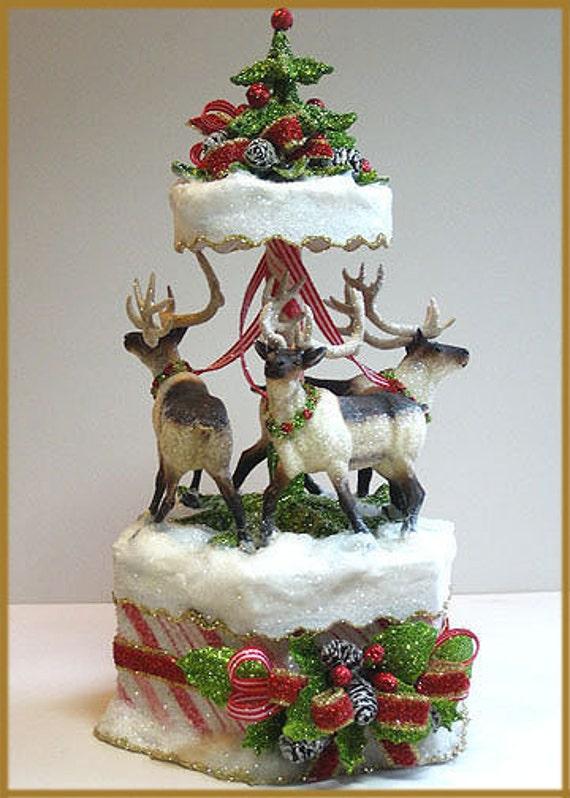 Edible Reindeer Cake Decoration : Items similar to Candy-Striped Reindeer Carousel Cake ...