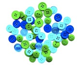 Button Lot 66 Pcs, OCEAN SPLASH, Hand-Picked, Combination Pack, Sapphire, Sea Blue, Palm Green, Turquoise. Free Shipping in US with 8 items