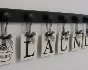 Laundry Room Wall Decor includes Wooden Hook Hangers and LAUNDRY, Washboard and Bucket Painted Black