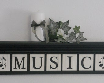 Personalized Family Names and Signs Black Shelf with Wooden Letter Tiles Painted Black MUSIC and Musical Notes