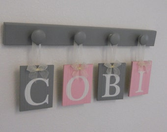 Baby Decor - Pink and Gray Nursery Baby Girl Personalized Gifts - Baby Girl Name - COBI - 4 Wood Hooks Grey, Soft Pastel Pink - Baby Names