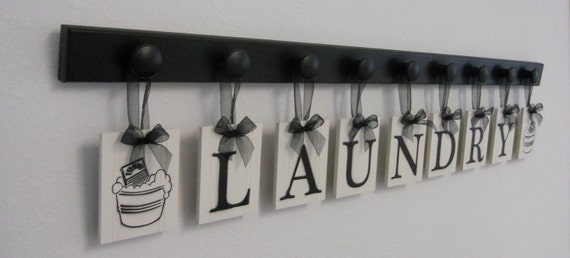 Laundry Room Wall Decor includes Wooden 9 Hook Hangers and LAUNDRY, Washboard and Bucket Painted Black
