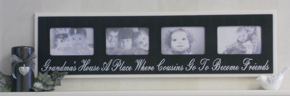 Grandparents Gift Photo Frame Black or Chocolate Brown Sign Quote - Grandma's House A Place Where Cousins Go To Become Friends