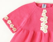 knitted baby dress full of little flowers, fuschia. 100% cotton - MADE TO ORDER