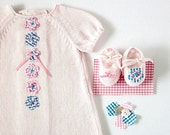 Knitted pink dress and little shoes with little flowers. 100% cotton. READY TO SHIP size newborn.