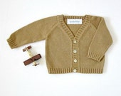 Knitted classic coat in camel. 100% cotton. READY TO SHIP size newborn.