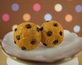 Fresh Baked Chocolate Chip Cookie Handmade Stud Polymer Clay Earrings