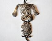 Vintage 70's Dog Pendant Necklace LARGE signed ALAN