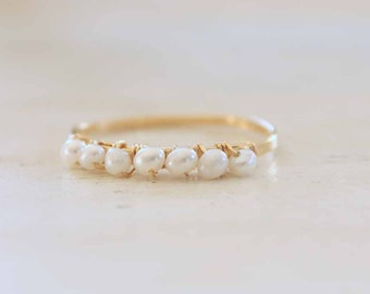Tiny Freshwater Pearl 14k Gold Stacking Ring