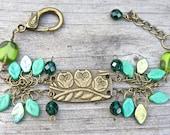 Green owl bracelet, leafy, woodland, owls,