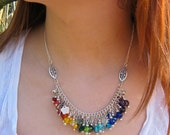 Custom order for biblimail, choker length Rainbow charm necklace and matching bracelet