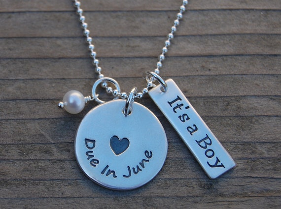 Due in... Proud Mama Pregnancy Necklace with Birthstone & It's a Boy (or Girl) Tag