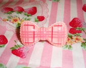 Huge Strawberry Gingham Ruffley Ribbon Ring