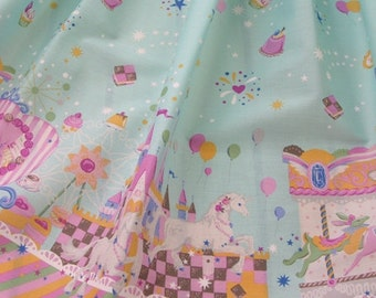 "LAST -Sugary Sweets Cupcake Carousel Skirt - ANY SIZE waist up to 22"" - Baby Blue"