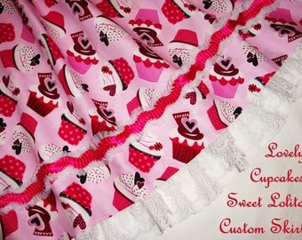 Custom Lovely Cupcakes Sweet Lolita Skirt - ANY SIZE - Great for Valentines Day