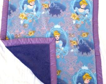 Purple Princess Stroller Blanket - Cinderella Fleece with Royal Purple Minky and Satin Binding