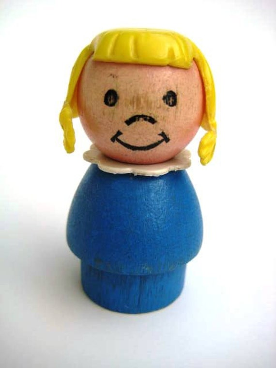 Vintage Fisher Price People - Wooden Little Girl with Braids