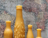 "Beeswax Candle Collection - antique bottle shaped - ""French, Lime Juice Md and Mini and FREE Hoyt's"" - by Pollen Arts -"