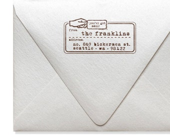 Personalized Address Stamp - Custom Address Stamp - Vintage Style - Modern Quote - You've Got Mail - Housewarming - DIY Envelope Printing