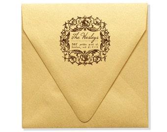Personalized Address Stamp - Custom Address Stamp - Holidays - Housewarming - French - Wreath - Decorative Border - DIY Printing -  Original