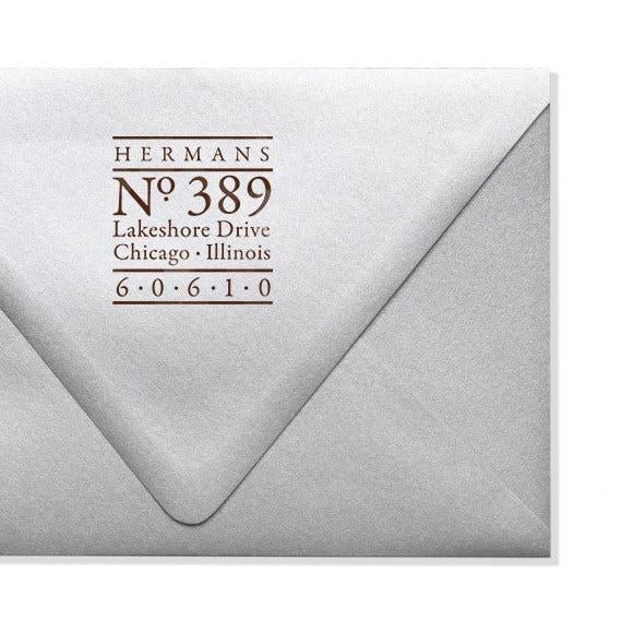 Personalized Address Stamp - Nautical - Maritime - Custom Stamper - Modern - Wood Mounted - Self Inking Stamp - Housewarming - DIY Printing