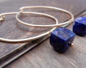 Blue Lapis Gold Hoop Earrings, 14k Gold Filled, Lapis Cube Hoops, Medium Large Gold Hoops, Blue Lapis Lazuli