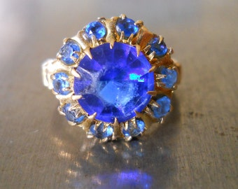 Electric Blue Vintage Cocktail Ring - Faux Sapphire Antique Ring- Vintage Fashion Ring - Blue Topaz - 1920s Ring - Electric Blue Ring